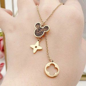 Monogram Four leaf clover charm Mickey Mouse Fashion Necklace